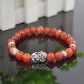 Chinês de prata banhado lzdooor charme Um símbolo do dinheiro pingente de ágata vermelha beads elastic pulseira para mulheres dos homens RB1700