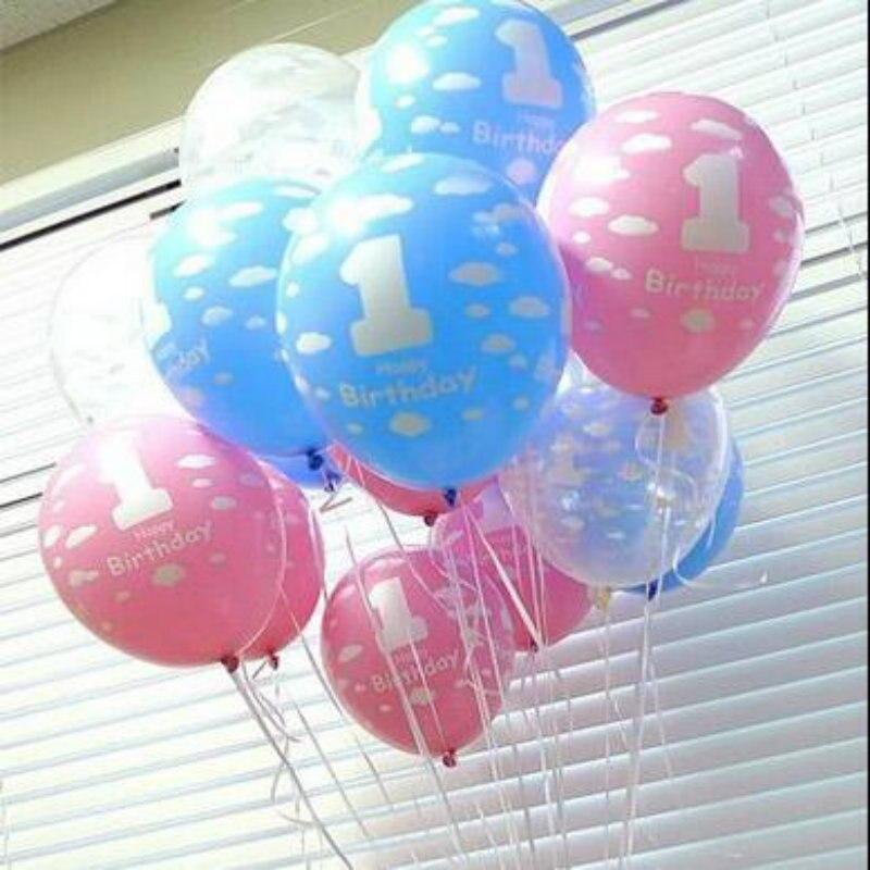 HOT 10pcs/Lot 12 Inch 1 Birthday Balloon Pink/Blue Latex Balloons Kids Birthday