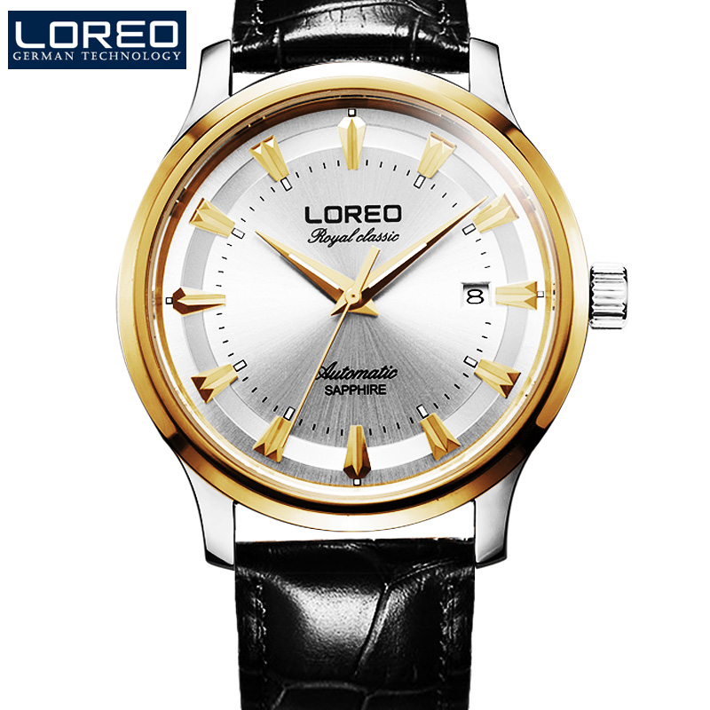 LOREO Sapphire Automatic Mechanical Watch Men silver Stainless steel waterproof leather Watch relogio masculine fashion watch men power reserve silver stainless steel automatic mechanical sapphire waterproof white watch relogio masculino