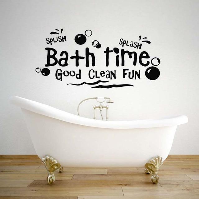 Creative Bath Time Wall stickers Bathroom Bathtub Home Decor Toilet Decal  DIY Removable Vinyl stickers JG2315