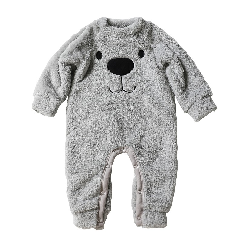 2017 Autumn Baby Boy Girl Clothes Long Sleeve Cashmere Bear Cartoon Baby Rompers Jumpsuit Costumes Newborn For 0-24M newborn 2017 autumn and winter new girl cartoon plus cashmere cardigan women baby out jackets thick dress princess dress533