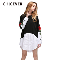 [CHICEVER] Spring Rose Flowers Embroidery Dress With Sweatshirt Patchwork Fake Two Pieces Big Size Ladies Party Dresses Women