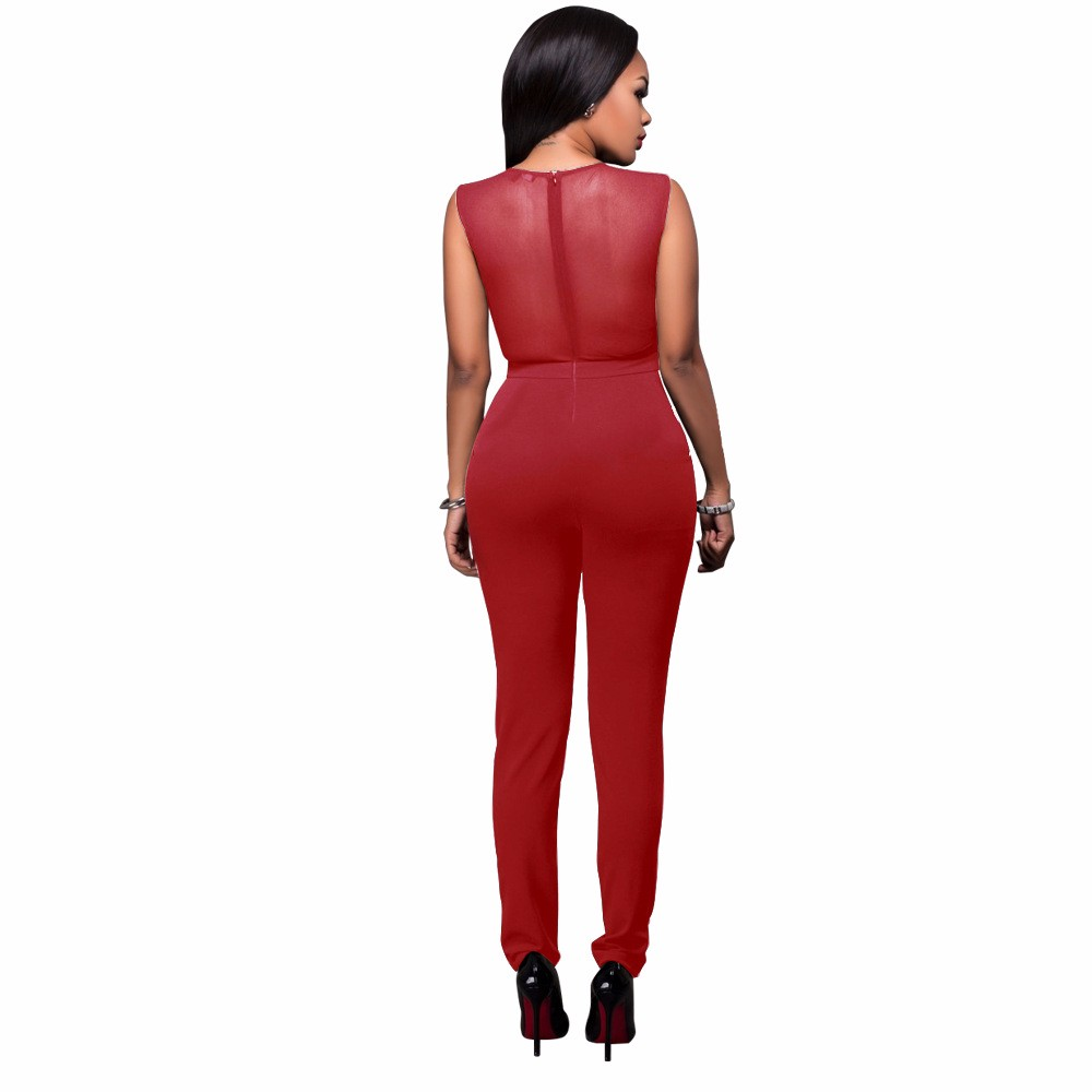 2017 New Summer Women Jumpsuit Bandage Black Bodysuit V-Neck Sleeveless Print Zipper Back Sexy Bodycon Jumpsuits And Rompers 16