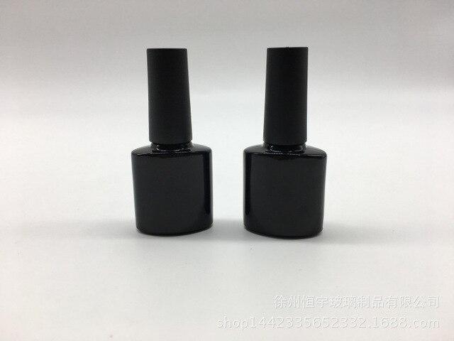 High Quality 20pcs /lot 10ML Empty Square UV Black-out Glass Nail Polish Oil Bottles With Black Brush Cap Glass Bottles For Glue