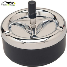 Black Round Push Down Ashtray Metal SpinningTray Easy to Clean Color Air Tight Bar Accessories