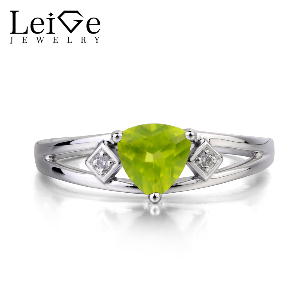 Leige Jewelry Real Natural Peridot Ring Wedding Ring Green Gems August Birthstone Trillion Cut Gemstone 925 Sterling Silver RingLeige Jewelry Real Natural Peridot Ring Wedding Ring Green Gems August Birthstone Trillion Cut Gemstone 925 Sterling Silver Ring