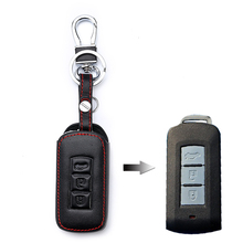 все цены на 1 Pcs Car key Shell Protecor Case Cover Leather Holder Chain For Mitsubishi asx lancer 10 outlander colt LANCER Grandis Pajero