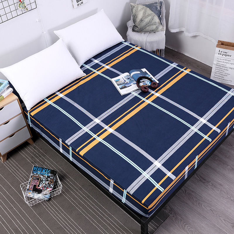 Plaid Bed Mattress Cover Folding Mattress Pad Waterproof Protector Fitted Sheet Separated Emf Protection Bed Linens with Elastic