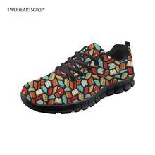 Twoheartsgirl Lightweight Lace Up Book Lover Sneakers Flats for Women Casual  Breathable Ladies Mesh Shoes Custom Women Flats 21e89b0212ee