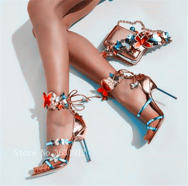 New Colorful Butterfly Appliques Metallic Leather Turquoise Strappy High Heel Pump Shoes Chic Back Lace Up Outfit Woman Sandals metallic strappy flat sandals