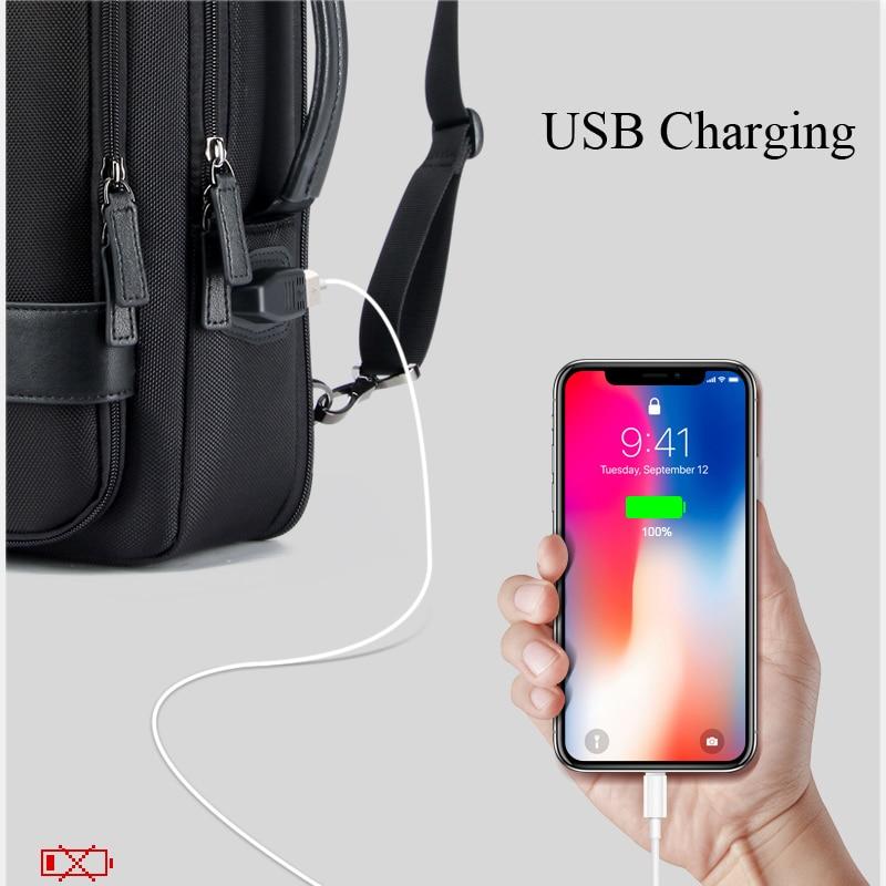 Multifunción de carga USB para hombres de 15,6 pulgadas mochilas de ordenador portátil para adolescentes Moda hombre viaje antirobo mochila impermeable-in Mochilas from Maletas y bolsas    2