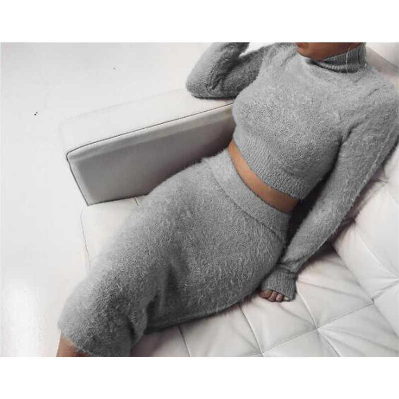 汗スーツ女性の秋の冬ツーピース長袖 O ネック無地ショートトップとスカートソフト快適なセーターセット