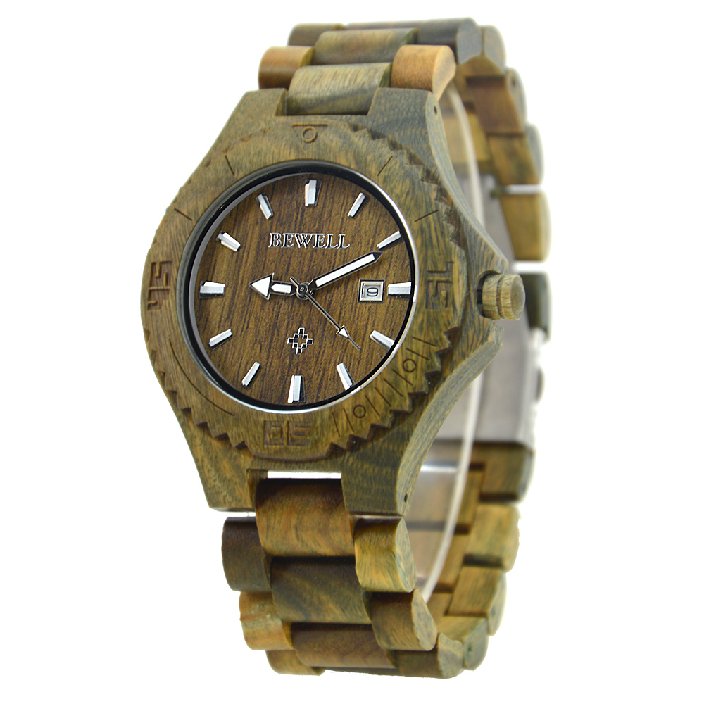 BEWELL Time Brand Clock Man Wood Watches Fashion Luxury Brand Luminous Pointers Male Wristwatch Relogio with Box 023B