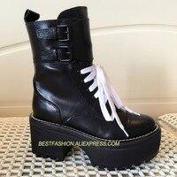 Горячие осень зима обувь женская обувь из натуральной кожи на шнуровке сапоги на платформе дизайн взлетно посадочной полосы Водонепроница