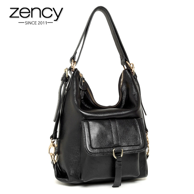 Zency Brand New Fashion Ladies Hobo Handbag Genuine Leather Large Shoulder Bags For Women Large Capacity Casual Simple