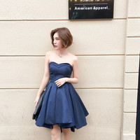 High Quality Navy Blue Bridesmaid Dresses Satin Ball Gown Short Bridesmaid Dresses Sweetheart Pleat Turquoise Dress