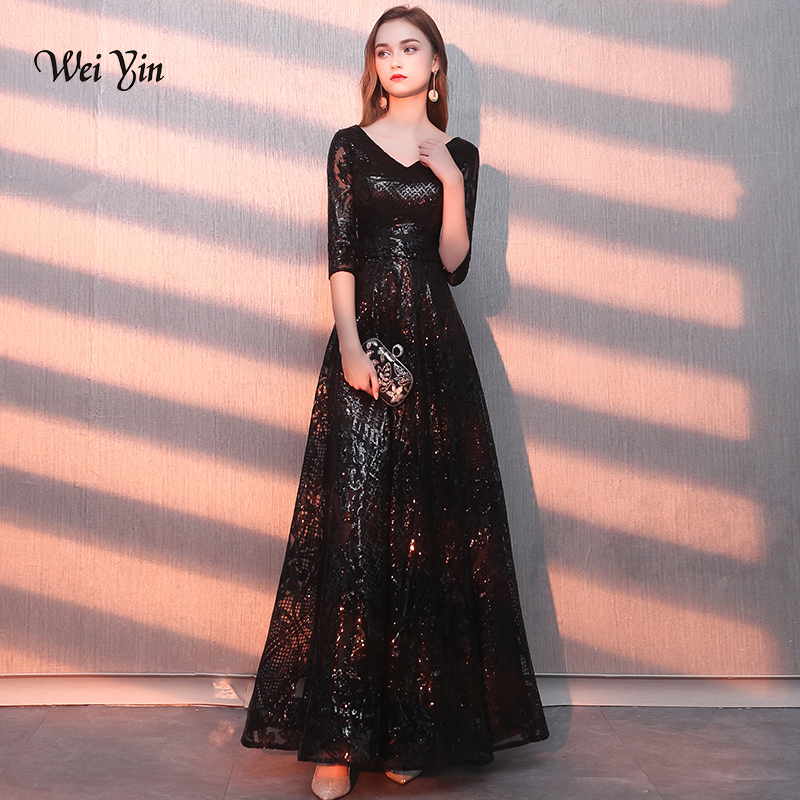 weiyin Vestido De Festa Longo Sexy V Neck Black Sequined   Evening     Dresses   Half Sleeves A-Line Zipper Long Party Gown WY1164