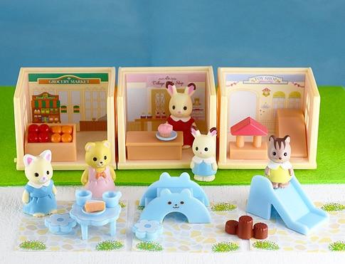 5 set/lot Gashapon mini rubber Sylvanian Family  bear rabbit cat shop Figures Anime Cartoon figures dolls Toys Child Toys gift Ямча