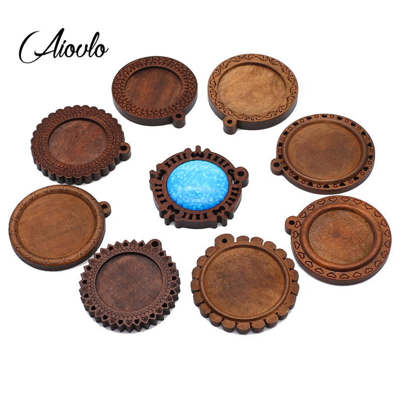 Aiovlo 50pcs/lot Brown Wood Cabochon Base 25mm 30mm Blank Wooden Pendant Charms Trays Diy Necklace jewelry making suppliesAiovlo 50pcs/lot Brown Wood Cabochon Base 25mm 30mm Blank Wooden Pendant Charms Trays Diy Necklace jewelry making supplies