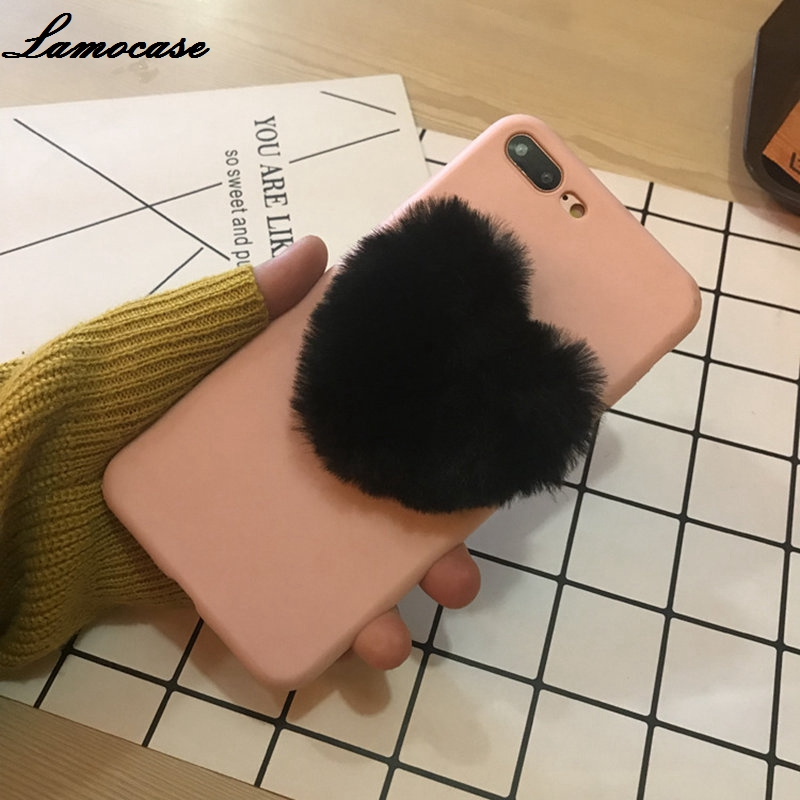 59cfdc885e 3D Cute Soft Fluffy Warm Fur Case For iPhone 7 Plus Love Heart Furry Plush  Cover For iPhone 5 5S SE 7 6s 6 8 Plus X XS XR Max-in Fitted Cases ...