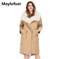 Maylofuer Настоящее Белый Лисий Мех Куртка с воротником Для женщин теплые зимние вниз лайнера куртка хаки парки