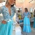 Barato Repiques de Graduación Vestidos 2017 V Cuello de Encaje Con Cuentas Una Línea de Baile Vestidos Largos de Manga Cielo Azul Vestidos Formales Baratos