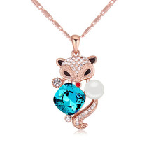 Vintage Rose Gold Color Fox Austrian Pearl Pendant Necklace Crystal from Swarovski Fashion Jewelry Made with Swarovski Element(China)