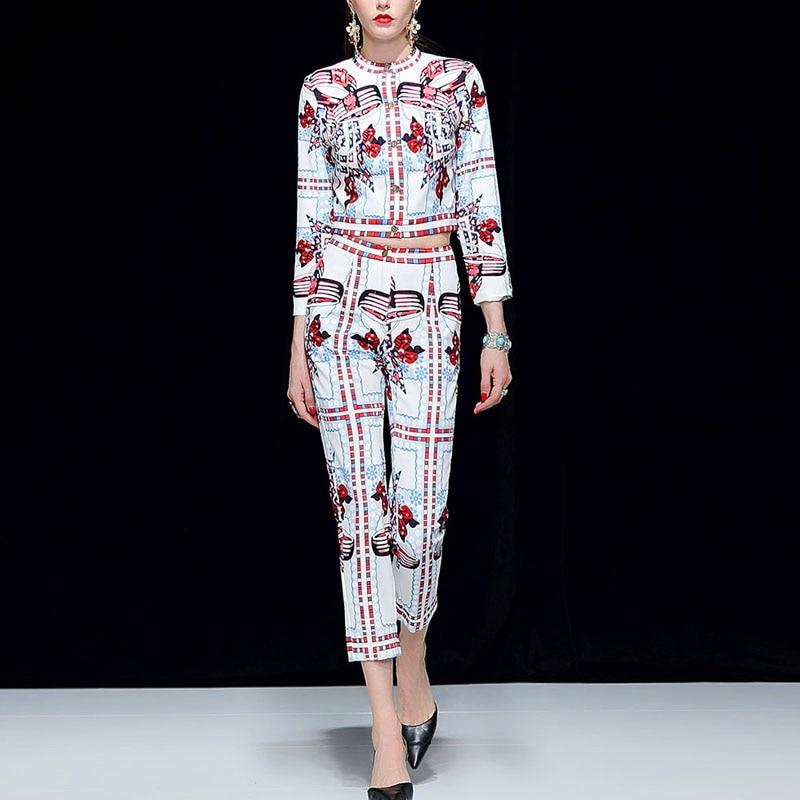 Pantalon Femmes Tenues Et Set De Manches Longues Mode 2018 Ensembles Automne Piste Costume Veste Imprimer Marque 2 Blanc Ensemble Pcs qEwttU