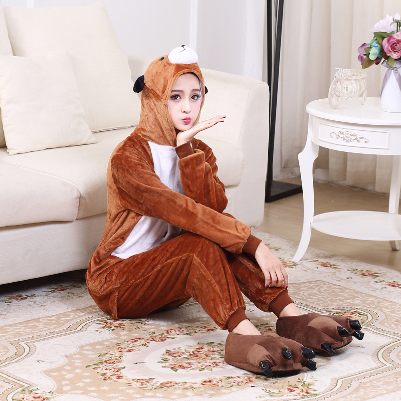 Cute Brown Dog Onesie Flannel One-Piece Pajamas Kigurumi Animal  Doggie Sleepwear Women And Men For Halloween Cosplay Party (5)