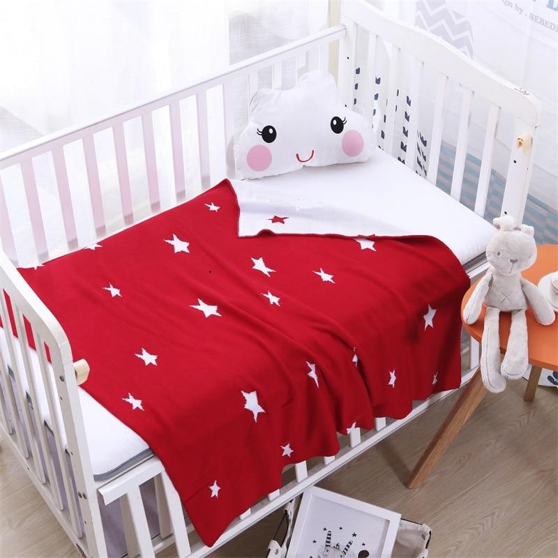 Bébé tricot fil climatisation couverture rose bleu étoile pour lit canapé Cobertores Mantas couvre-lit tapis de jeu cadeau 90*90 cm