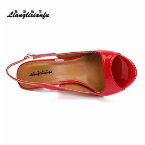 Image 5 - LLXF zapatos mujer 13 cm dünne heels Stiletto Pumps schuhe frau kleid Pantent Leder Sandalen Peep Toe Cosplay pumpen US16 17