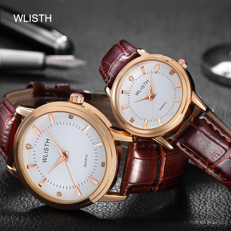 WLISTH Brand Couple Watch Leather Belt Ladies Lovers Waterproof High-end Quality Watch Gold Shell Student Pair Wrist Watch