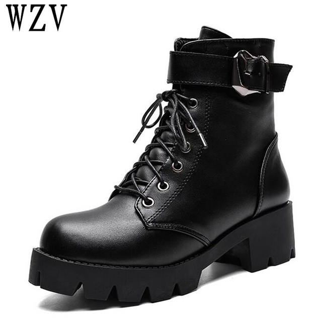 86ff0f46c0d US $17.47 44% OFF|2019 Platform Heels Women Lace up Ankle Boots Soft  Leather Thick high Heel Platform Boots Winter Autumn Martin boots F070-in  Ankle ...
