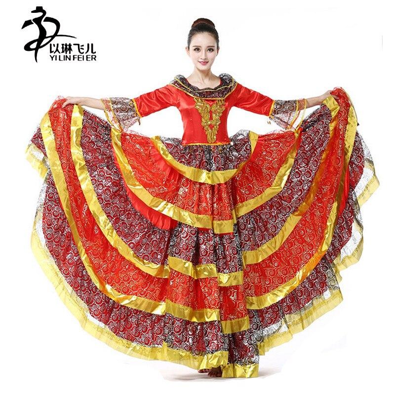 FLAMENCO DANCE DRESS FOR GRIL/SPANISH FLAMENCO SKIRT Fare Sleeve Girls Flamenco Dress Ruffled Spanish Dance Costume for women