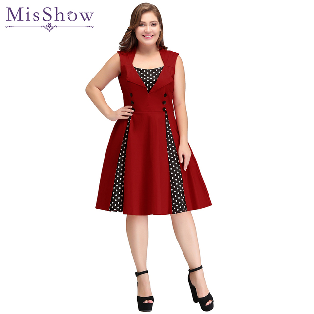 b6756a7b57b Womens Short Cocktail Dresses Plus Size Summer 50s 60s Retro Rockabilly Dot  Swing Vintage Dress A-Line Party Dresses Vestidos