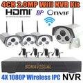Sistema de Câmera de segurança IP Full HD Wi-fi Câmera 1080 P IR Ao Ar Livre HDMI P2P/Onvif Câmera IP Vista Remoto Gravador de 4 Canais NVR Kits