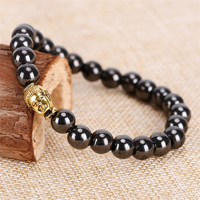 Stone Therapy Health Care Women Black Cool Magnetic Bracelet Beads Men Magnet Hemae Weight