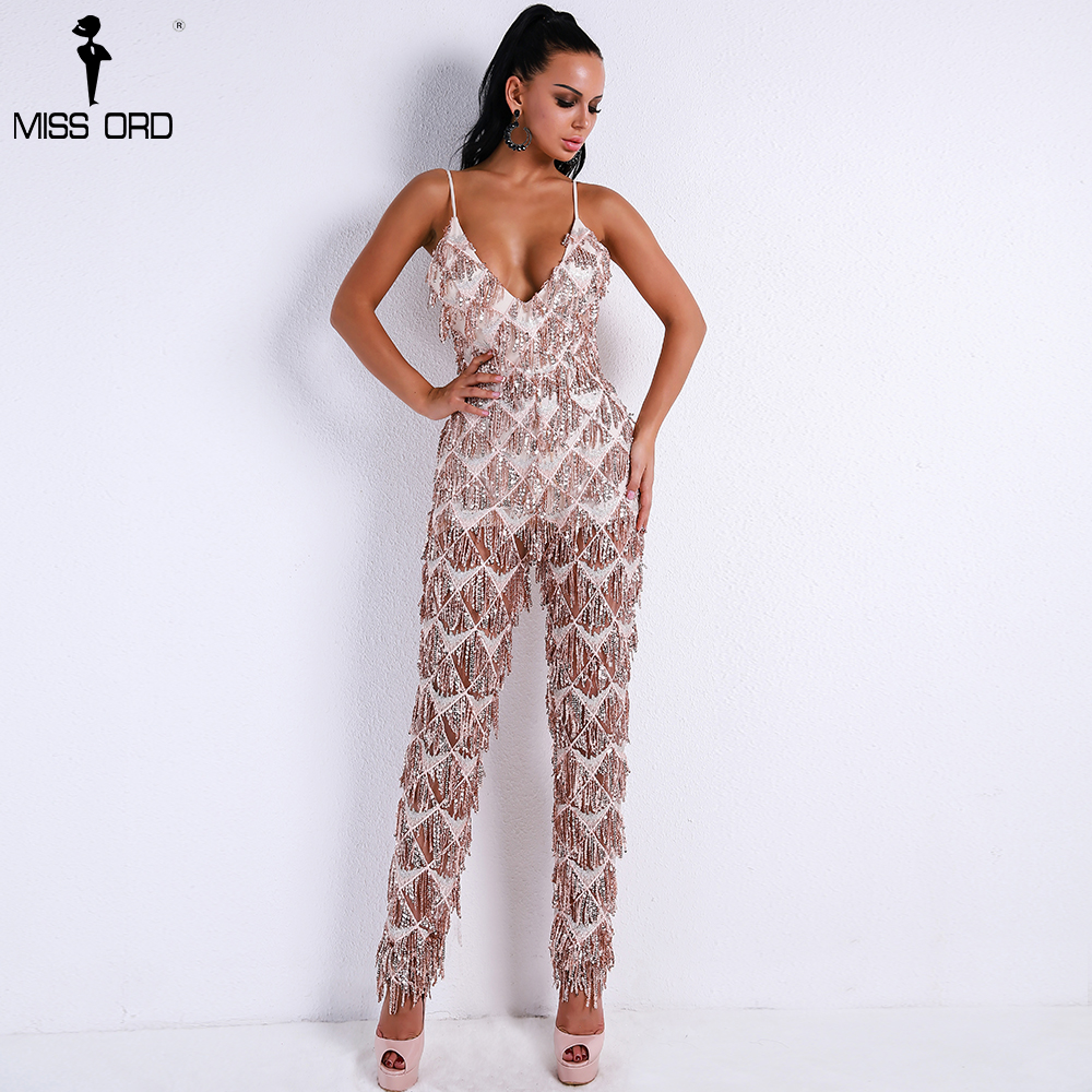 Missord 2018 Sexy V Neck Harness Sequin Overalls Backless Tassel Rompers Elegant Jumpsuit FT9269 baby pink v neck tassel detailed jumpsuit