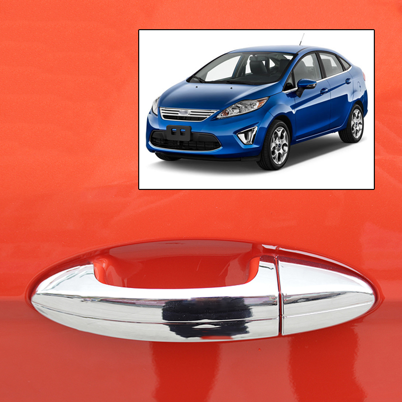 Accessories Fit For 2009 2010 2011 2012 2013 2014 Ford Fiesta Chrome Side Door Handle Bar Cover