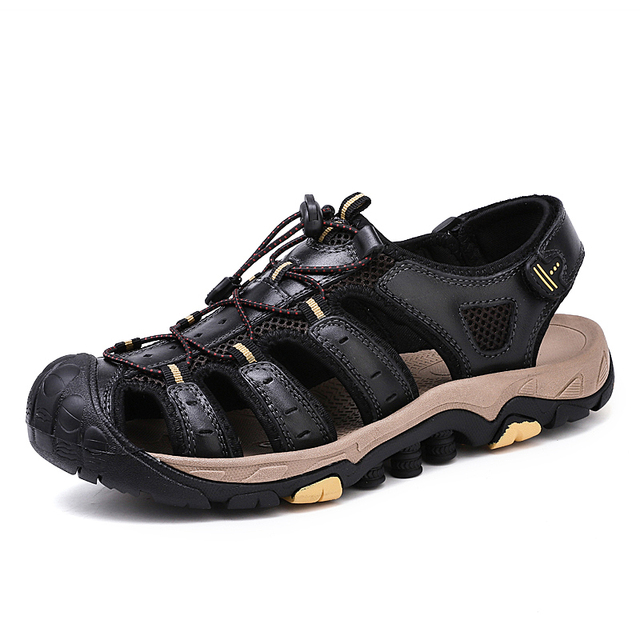 Summer Shoes Men Sandals Genuine Leather Business Casual Shoes Man Quality Design Outdoor Beach Sandals Roman Water Sneakers