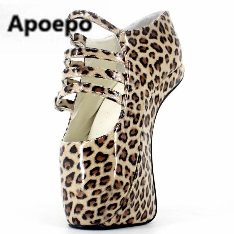Apoepo новые балетки женские пикантные леопардовые из лакированной кожи Туфли лодочки на ультравысоком каблуке с пряжкой в необычном стиле ст