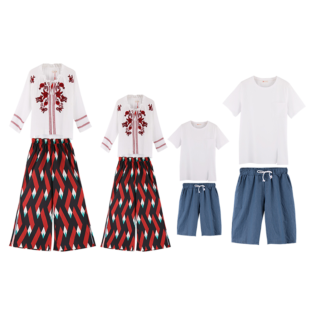 JY1899 Summer Fashion Beach Dress Casual Family Matching Outfits Clothes Mother Daughter Pants+T-shirt,Father Son Pants+T-shirt