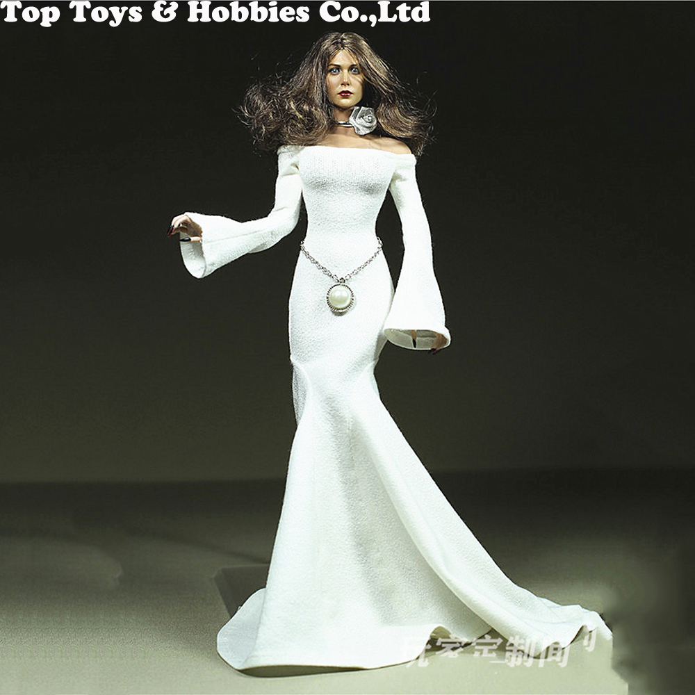sexy girl clothing 1 6 Scale red rose white long evening Dress For Elizabeth Olsen figure 12 39 39 TBLeague large bust Seamless Body in Action amp Toy Figures from Toys amp Hobbies
