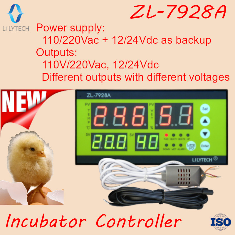 ZL 7928A 100 220Vac 12V Battery backup Dry outputs Multifunction Automatic Incubator Incubator Controller Lilytech xm
