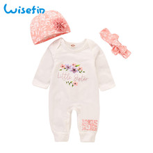 Wisefin Infant Girl Floral Outfits Pink Adorable Newborn Romper Set Winter Button Litter Sister Baby Cotton Clothing