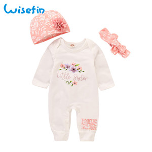 Wisefin Infant Girl Floral Outfits Pink Adorable Newborn Romper Set Winter Button Litter Sister Baby Girl Cotton Clothing Set