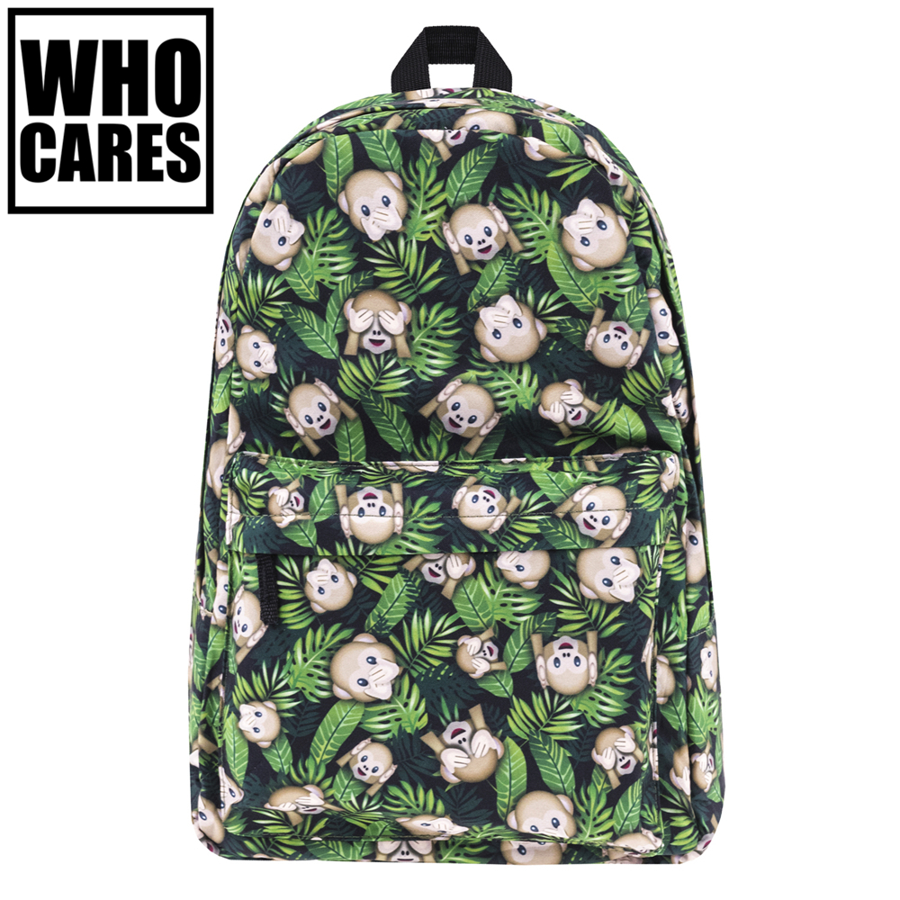 Funny monkeys weed Print backpack women Who Cares New mochila bookbag school bags for teenage girls sac a dos canvas backpacks tropical doodle 3d printing mini backpack women mochila masculina who cares new canvas backpacks for teenagers girls school bags