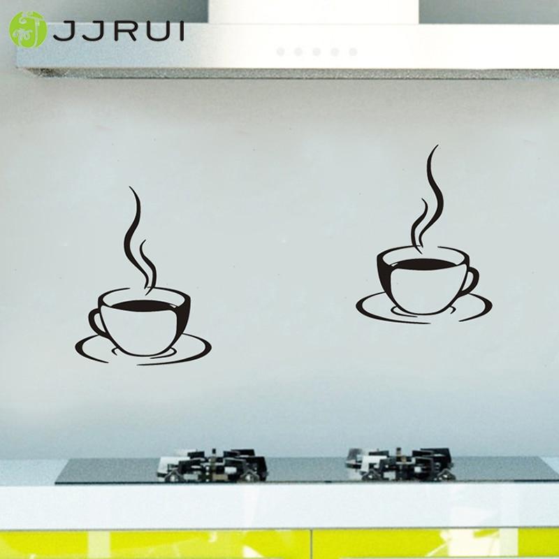 2 kaffekoppar Kök Väggklistermärken Cafe Vinyl Art Decals DIY Home - Heminredning