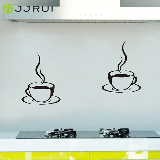 2 coffee cups kitchen wall stickers cafe vinyl art decals diy home
