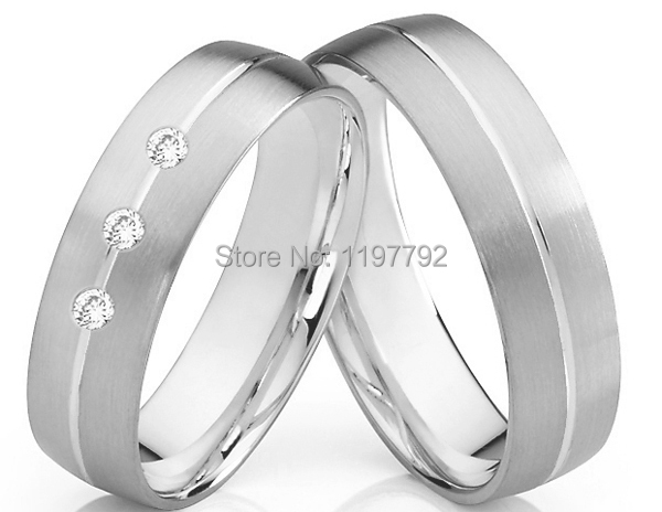 luxury tailor made white gold color color titanium wedding rings sets for him and her - Wedding Ring For Him